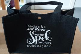 Vilten Tas Bedankt Juf (Naam) voor het Spek taculaire schooljaar