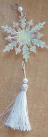 Hanger sneeuwvlok wit kunststof 33x9cm