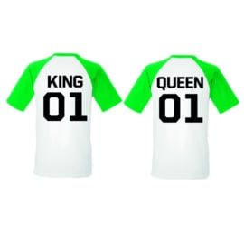 T-shirt King & Queen + Rugnummer (Groen/Wit)