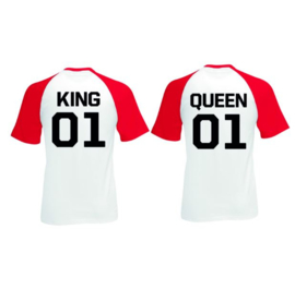 T-shirt King & Queen + Rugnummer (Rood/Wit)