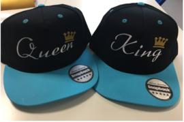 King & Queen Cap licht blauw/zwart (Kroon)