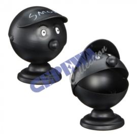 Asbak gezicht Smoky, zwart, ongeveer 16cm Hoog