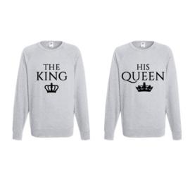 Sweater The King & His Queen + Kroontje (Grijs)
