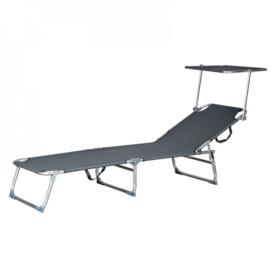 Ligstoel aluminium met antraciet dak