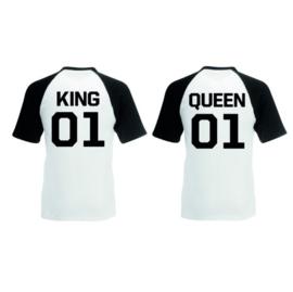 T-shirt King & Queen + Rugnummer (Zwart/Wit)