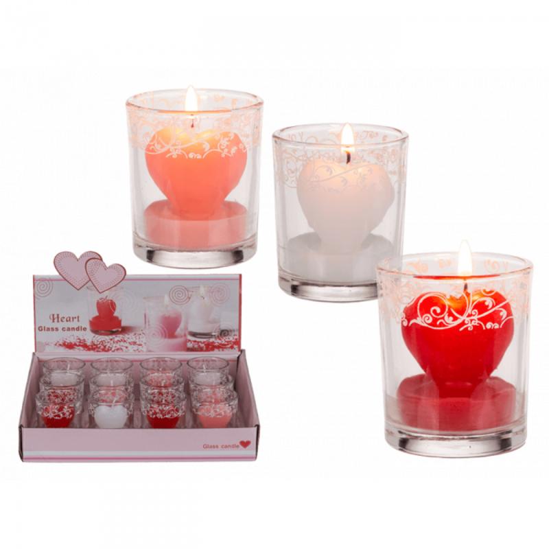 Hartvormige kaars in glas met decoratie (per 12 stuks)