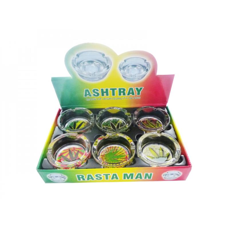 Asbak Rasta Man Cannabis gemaakt van glas doos van 6stuks