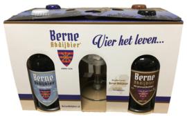 Cadeauverpakking 4 types Berne Abdijbieren + Bokaalglas