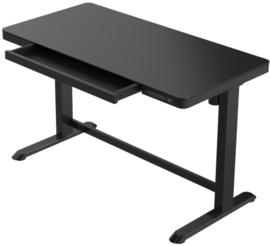 Compact elo zit-sta bureau glazen blad (zwart)