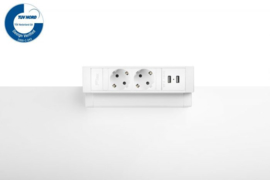Power Desk Up® 2.0 - 2x 230V, 2x Usb charge - Wit