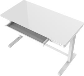 Compact elo zit-sta bureau glazen blad (wit)
