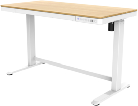 Compact elo zit-sta bureau kunststof blad (wit/eiken)