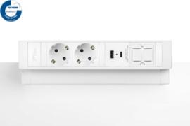 Power Desk Up® 2.0 - 2x 230V, 1x keystone, 1x USB A+C Charge (5.0V - 3.1A - 15.5W) - Wit