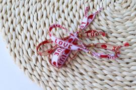 Armbandje LOVE - rood / beige
