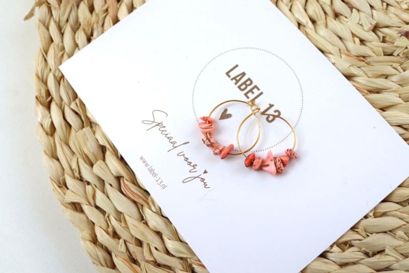 Oorbel RVS - natuursteen Blossom Pink