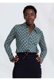 4FF blouse Solaris groen print