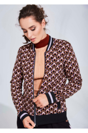 4FF jacket Can't you see zwart/bruin/lila