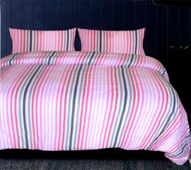 Dekbedovertrek Pink Stripes King Size 260x240 2 kussenslopen