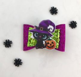 Luxe Halloweenstrik zwarte kater paars