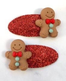 Gingerbread man klikklak speldjes rood
