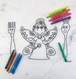 Herkleurbare placemat Vlinderelfje