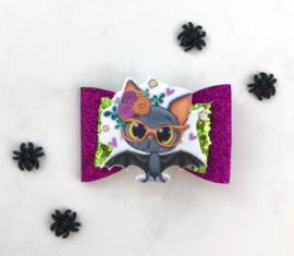 Luxe Halloweenstrik vleermuis paars