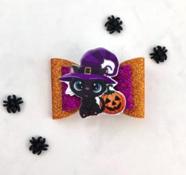 Luxe Halloweenstrik zwarte kater oranje