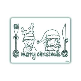 Herkleurbare placemat Merry Christmas
