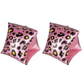 Zwembandjes Leopard pink 0-2jaar