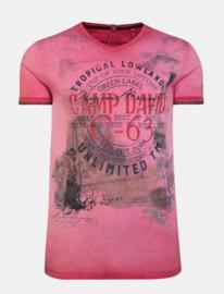Camp David ® T-Shirt Olieverfd met V-hals en Fotoprint, Rood