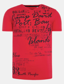 "Camp David ® T-shirt V-hals ""Port Bay"", rood"