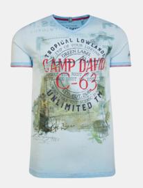 Camp David ® T-Shirt Olieverfd met V-hals en Fotoprint, Blauw