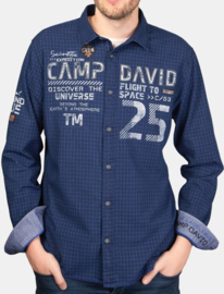 "Camp David Overhemd donkerblauw uit de ""Space Flight"" collectie"