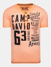 Camp David ® Henley-Shirt Oil Dyed met label applicaties, Orange