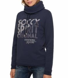 Soccx ® Sweater met badstoflogo en hoge kraag