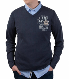 Camp David donkerblauwe stone washed casual v-hals pullover