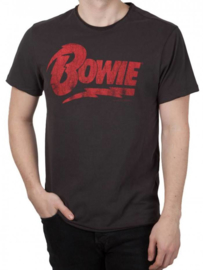 "Amplified mannen T-shirt ""David Bowie-logo"", Houtskool"