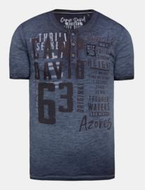 Camp David ® Henley-Shirt Oil Dyed met label applicaties, donkerblauw