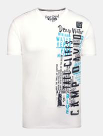 Camp David ® T-shirt met V-hals, prints en borduursels, wit