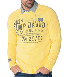 "Camp David Stone washed pullover, blauw uit de ""Boat Building"" collectie"