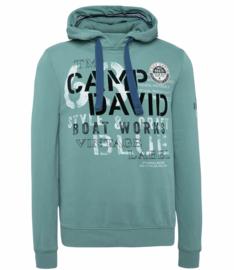 """Camp David groen Sweatshirt met capuchon uit de """"Boat Building"""" collectie"""