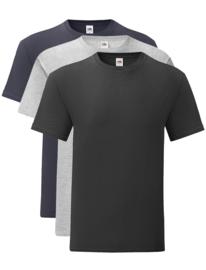 Fruit R-Neck T-Shirt in originele stijl voor heren (pak van 3 stuks)
