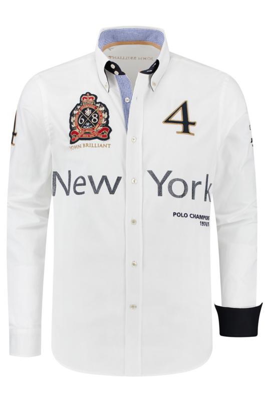 John Brilliant ® Overhemd Polosport New York, wit