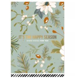 "Kerstkaart ""Happy Season"" per stuk"