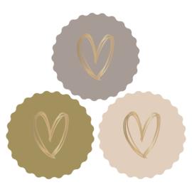Sticker set Hearts Olive per 6
