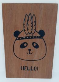 Houten kaart Pandabeer