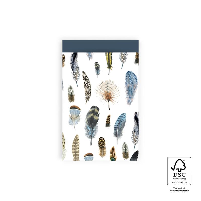 Cadeauzakje Feathers per 5 (12x19cm)