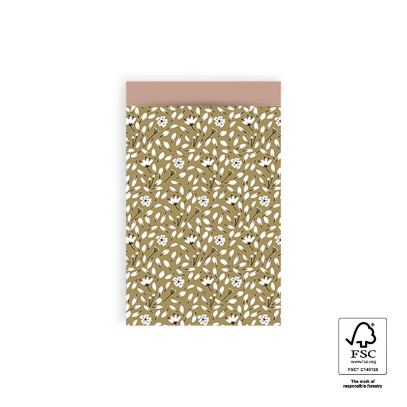 Cadeauzakje Flowers Olive per 5 (12x19cm)