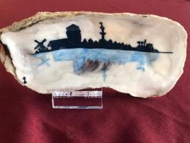 Handgeschilderde oesters silhouet Veere