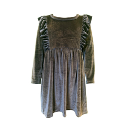 VELVET RUFFLE DRESS GREY